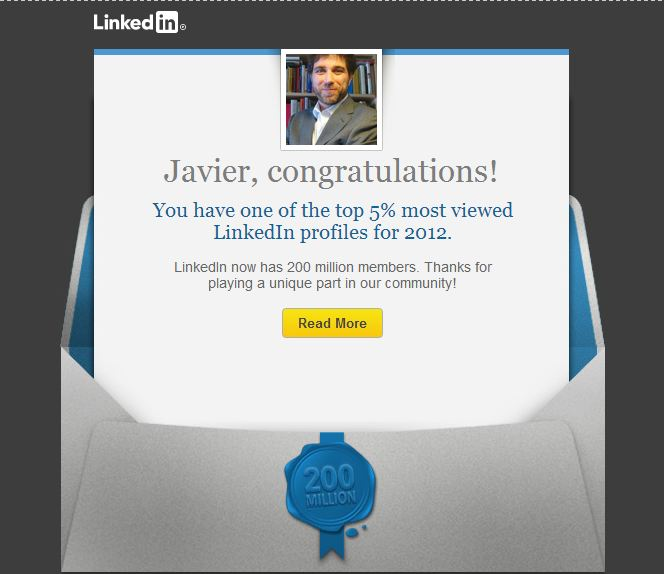 Felicitación de Linkedin