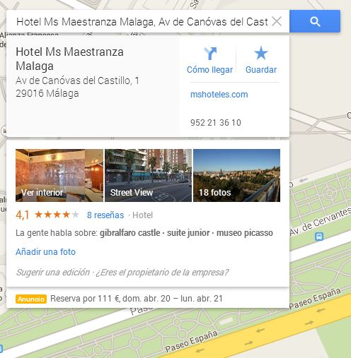 Captura de búsqueda de hotel en Google Maps