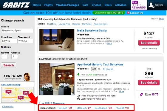 Resultados de hoteles meta-buscadores en Orbitz