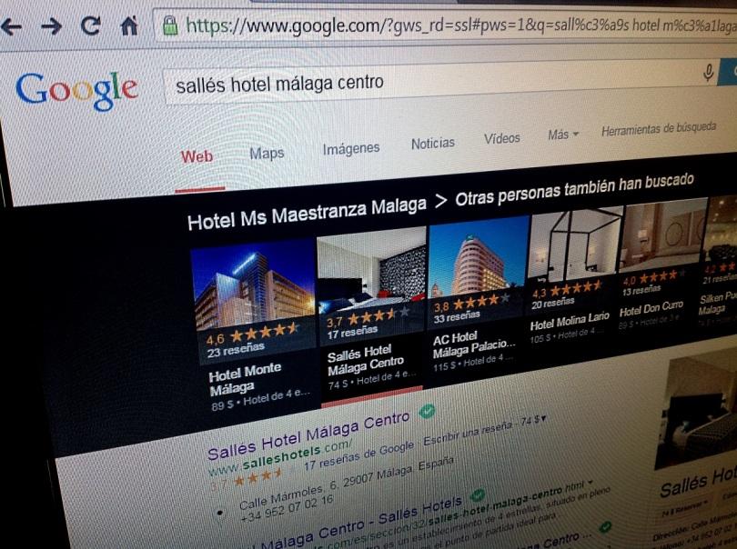 Google Carrusel de resultados locales de hoteles