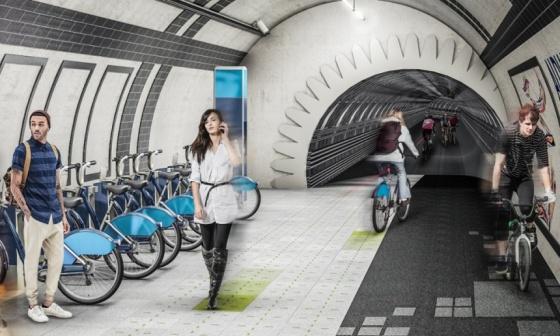 Carril bici subterráneo en Londres